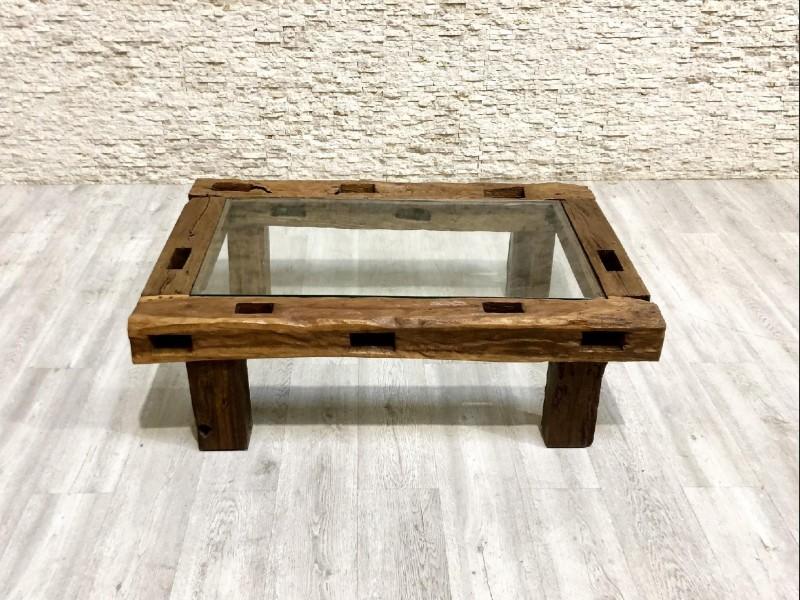Mesa de centro de madera antigua tropical mixa plesier for Mesas de centro antiguas