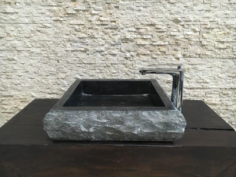 Lavabo de piedra natural cuadrado negro muebles - Lavabos de piedra natural ...